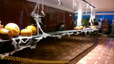 Reception desk pumpkins